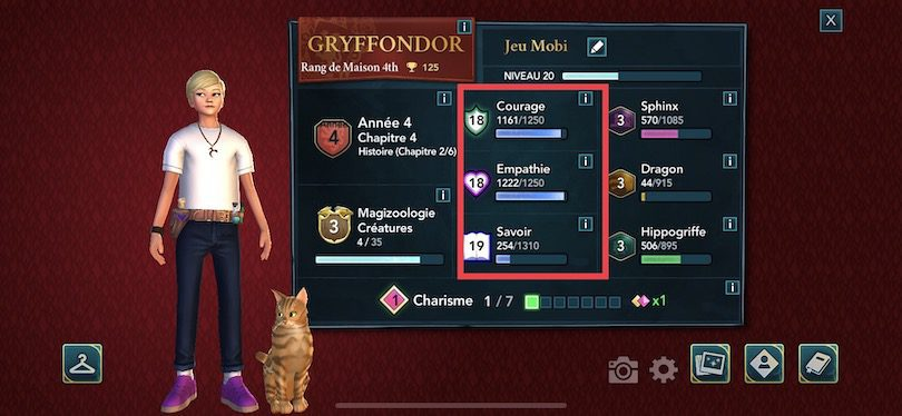 Attributs guide Harry Potter Hogwarts Mystery