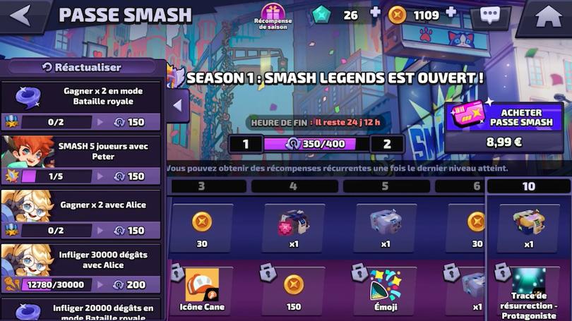 Menu Battle Passe Smash Legends