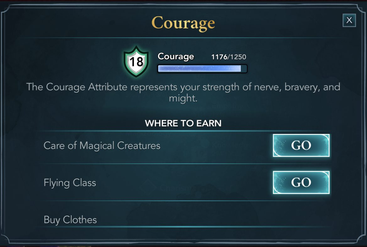 Courage attribute in Harry Potter Hogwarts Mystery