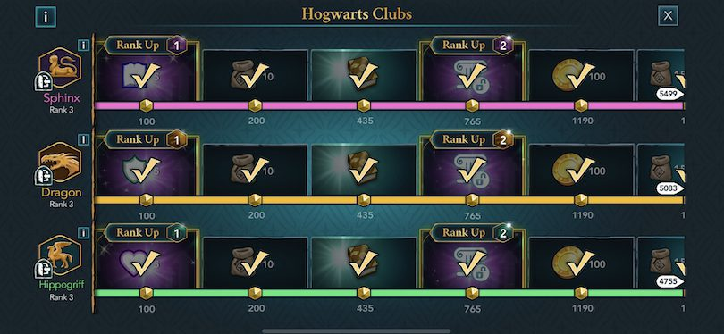 Clubs of Hogwarts, advance in levels