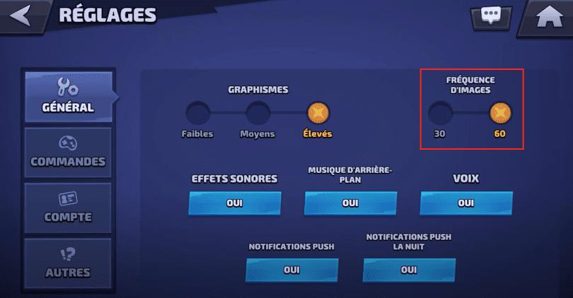 Réglage 60 FPS guide Smash Legends