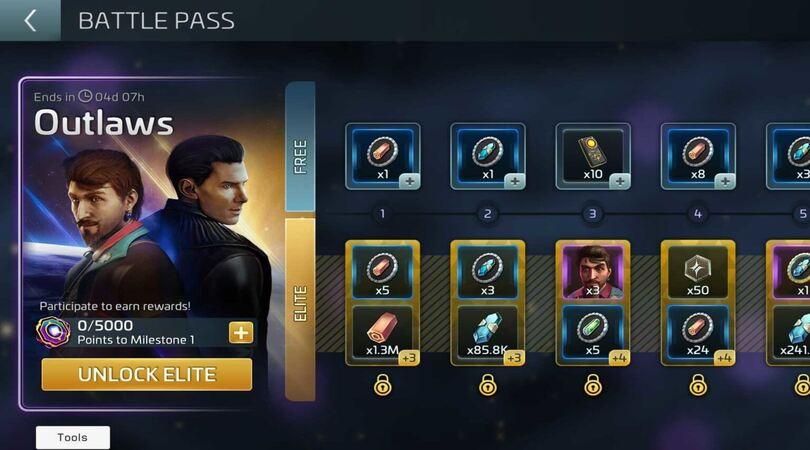 Battle Pass Free et de Battle Pass Elite dans Star Trek Fleet Command