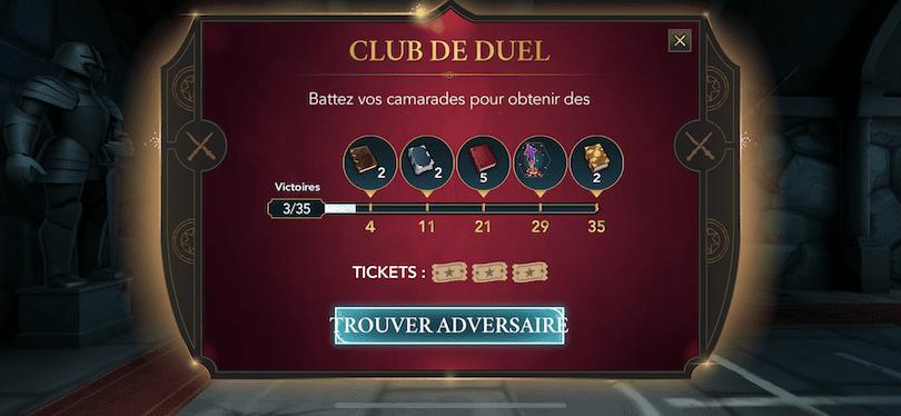Evenement club de duel Harry Potter: Hogwarts Mystery