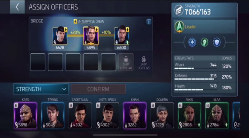 Meilleure composition avec synergie dans Star Trek Fleet Command
