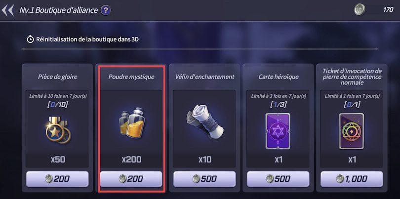 Acheter de la poudre mystique dans la boutique d'alliance