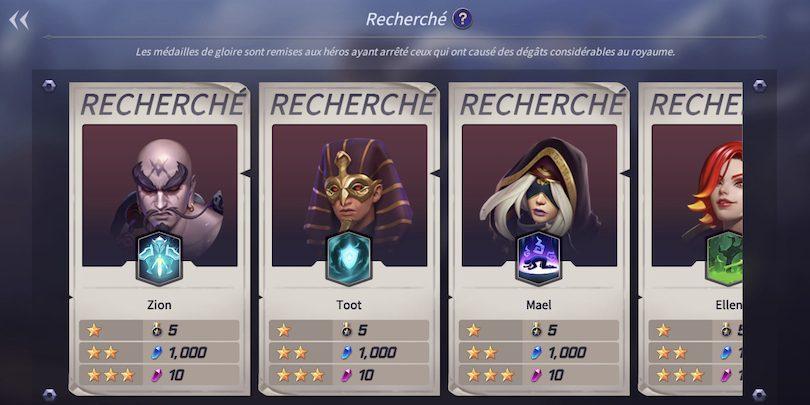 Récompenses Mode Recherché Lost Centuria