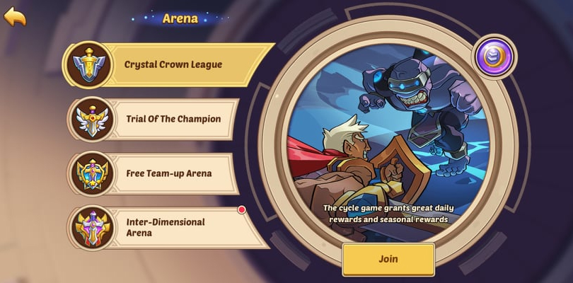 Game modes in the Idle Heroes arena