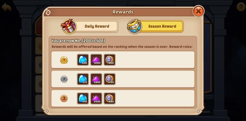 Idle Heroes Arena Daily and Seasonal Reward
