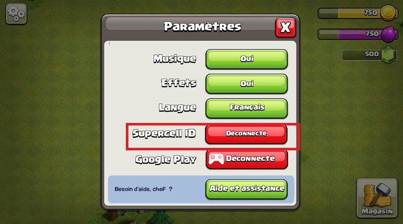 Paramètres compte Clash of Clans SUPERCELL ID