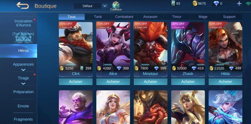 Boutique Mobile Legends des héros