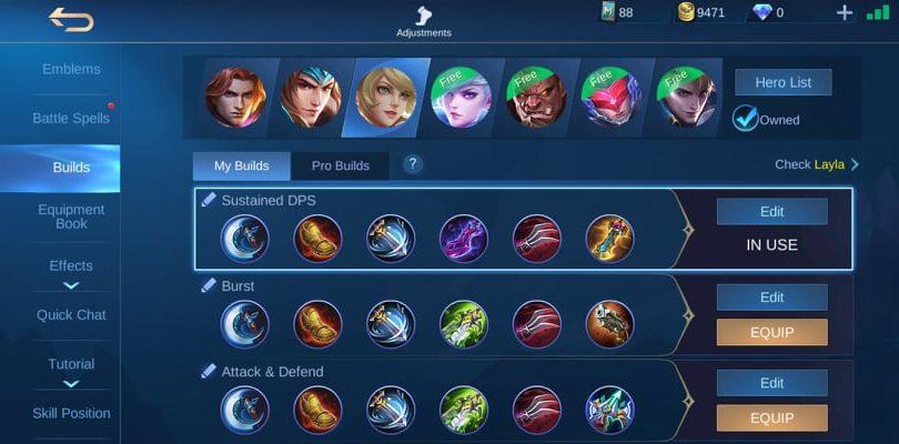 Layla equipment set - Mobile Legends Guide