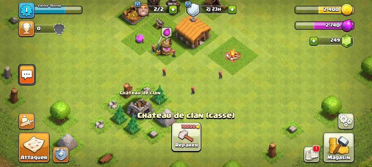 Astuce Clash of Clans pour réparer le chateau de clan