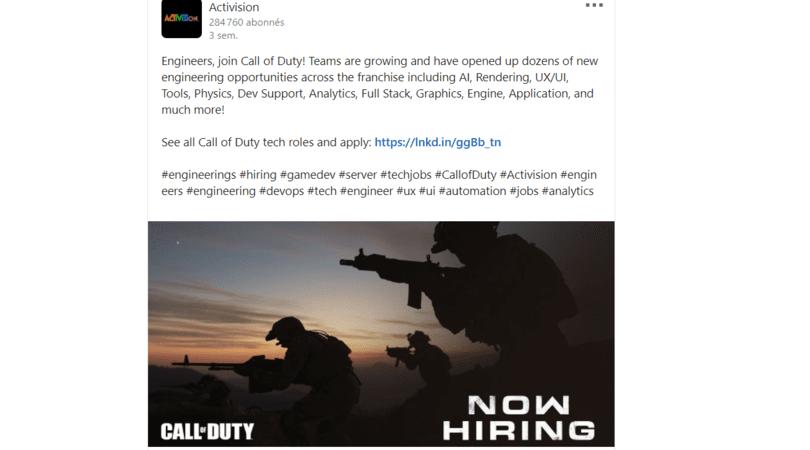 Activision recrute pour CoD