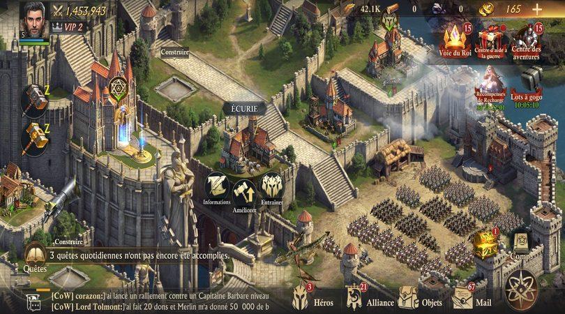Les bâtiments pour entraîner vos troupes dans King of Avalon