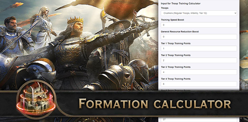 Troop formation calculator King of Avalon