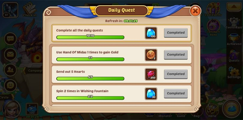 Daily quests and rewards Idle Heroes