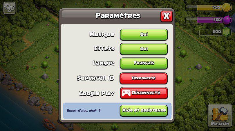 Liste paramètres Clash of Clans
