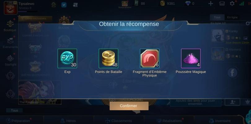 Récompenses Mobile Legends à récupérer