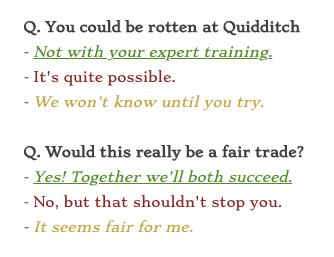 Réponses chapitre 2 Quidditch - Négocier avec Skye