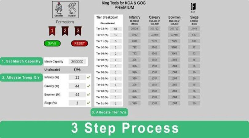 Troop Formation Calculator King of Avalon @angelofdev