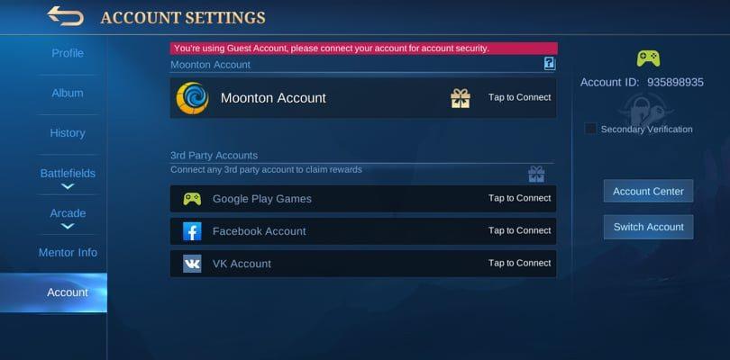 Delete a Mobile Legends account via the account settings