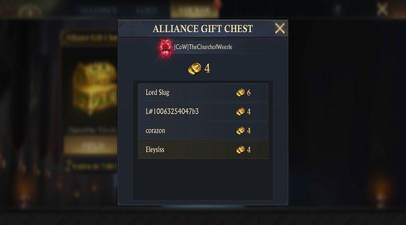 Tipps  King of Avalon  : Beispiele für Geschenke für Verbündete