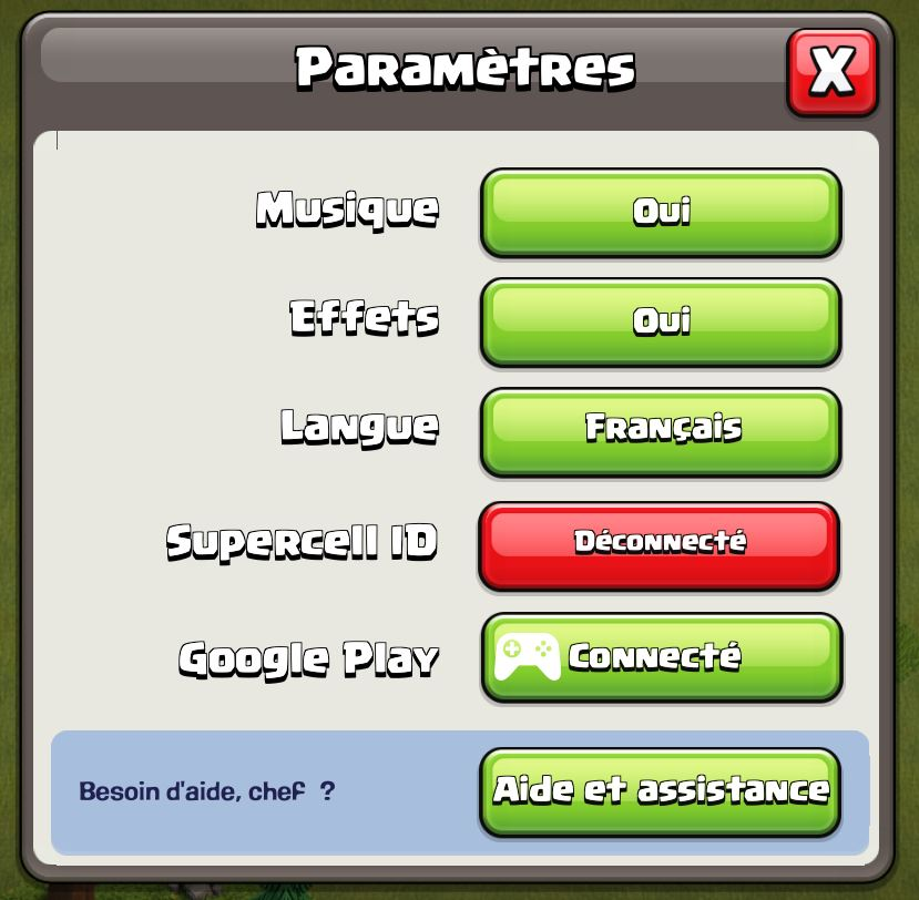 Compte Clash of Clans synchronisation