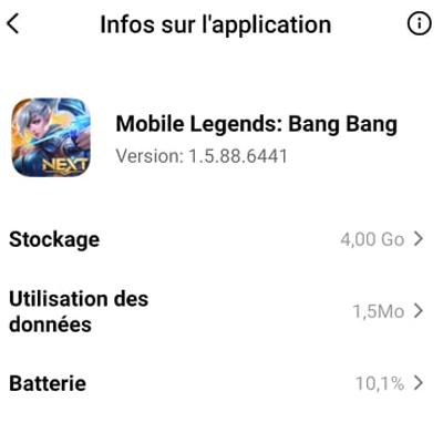 paramètres de Mobile Legends pour créer un nouveau compte