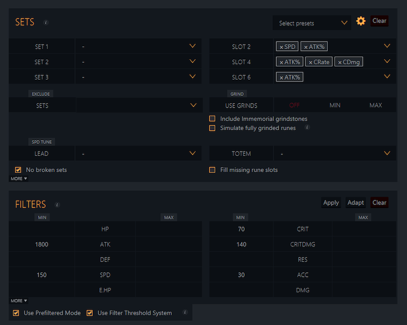 Interface Rune Optimizer Summoners War