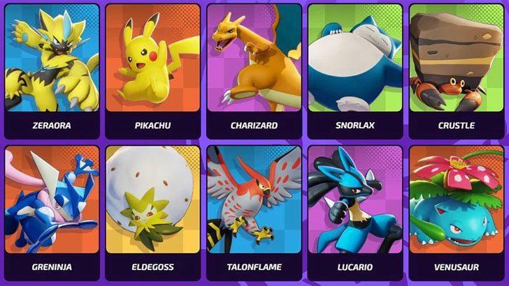 Liste des Pokémons jouables dans Pokémon Unite
