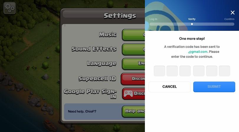 Supercell-Code zum Einloggen eingeben