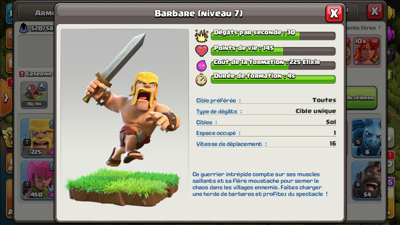 Statistiques du barbare clash of clans niveau 7