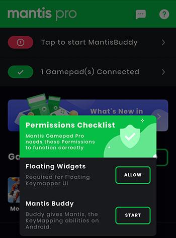 permissions Mantis Gamepad