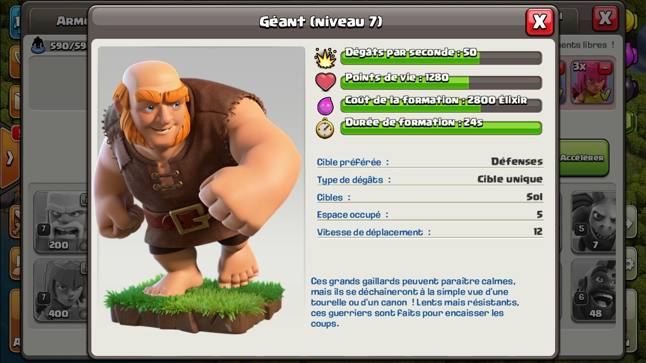 Stats geant Clash of clans