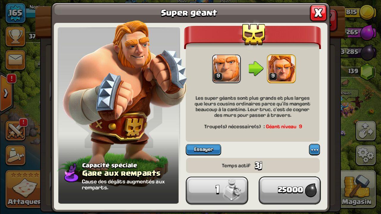 Géant Clash of Clans boosté en super géant