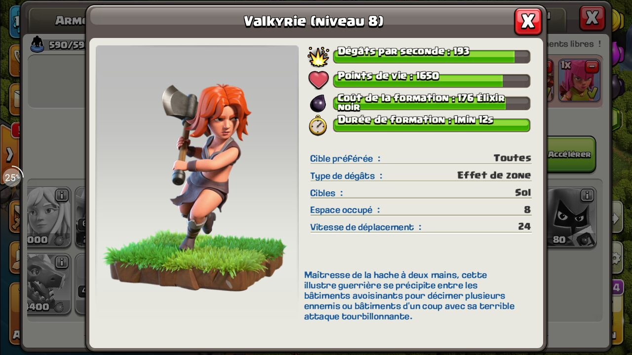 Statistiques valkyrie Clash of Clans