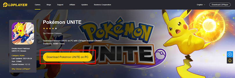Download an Android emulator for Pokémon Unite PC