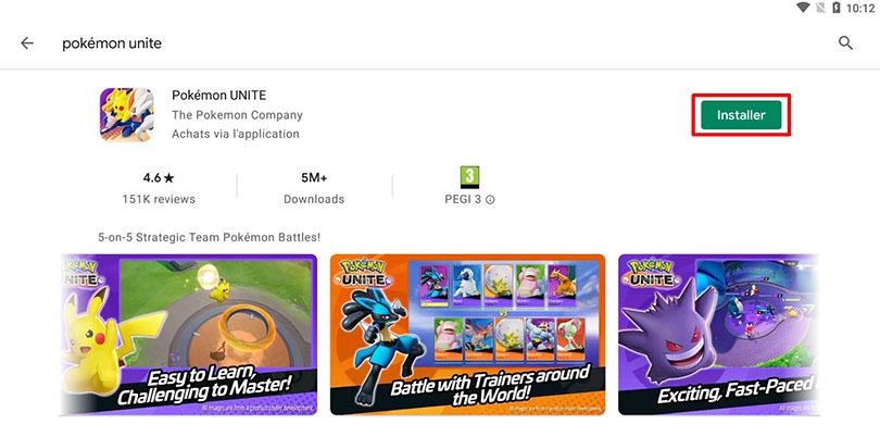 Installer Pokémon Unite sur PC