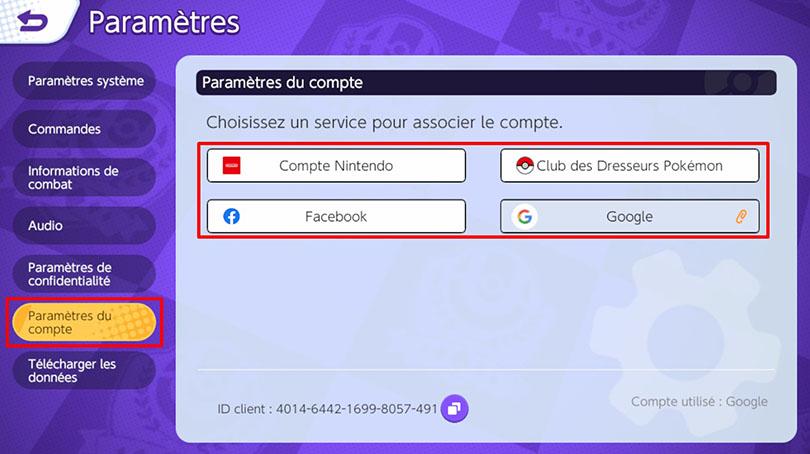 Lier compte Pokémon Unite Switch et Mobile